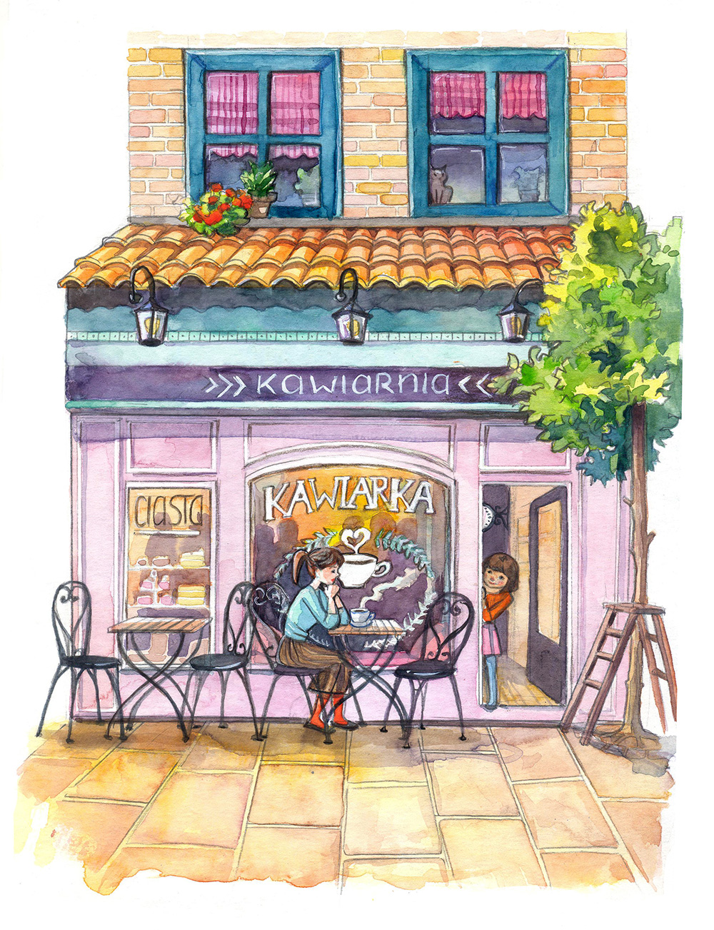 coffee shop watercolor illustration