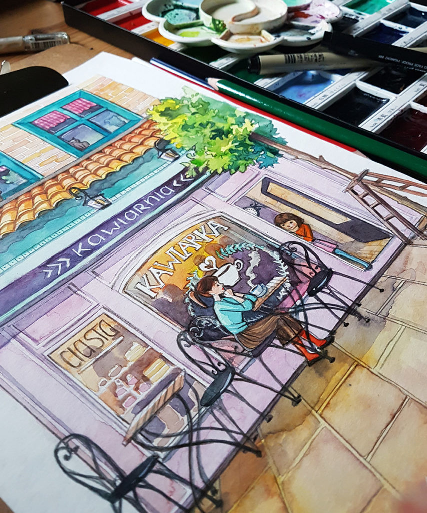 coffee shop illustration work i progress