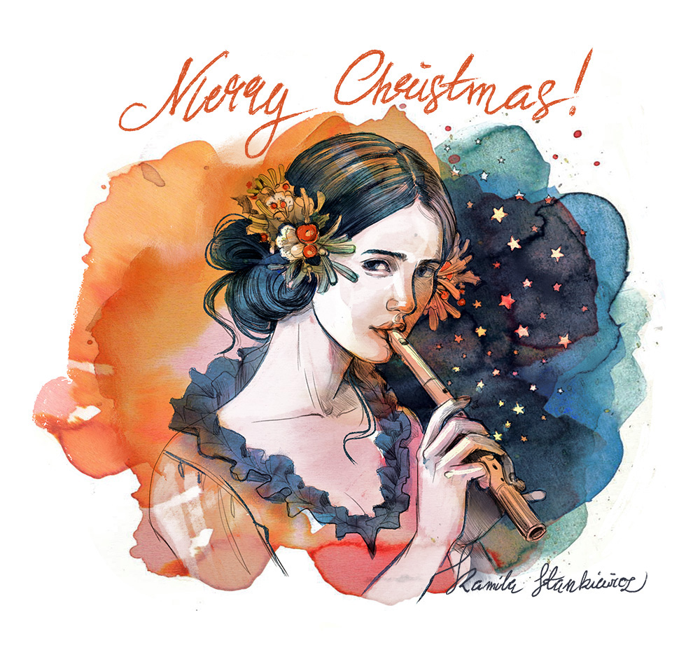Merry Christmas illustration 2017 watercolor style