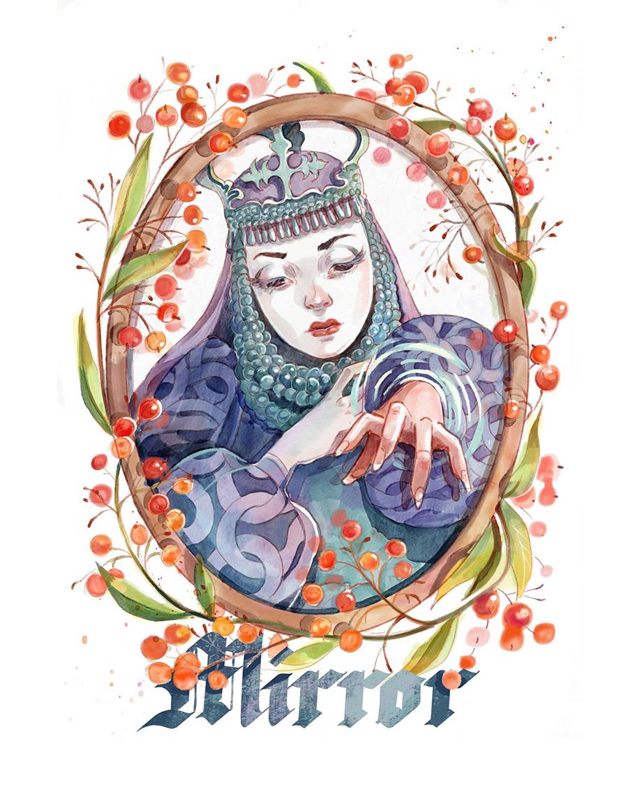 Mirror Barbara Radziłłówna illustration by Kamila Stankiewicz