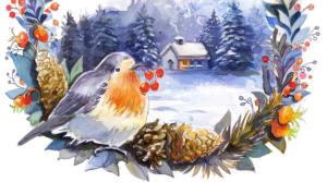 Scenka zimowa – proces malowania akwarelami – jak ja to zwykle wyczyniam.