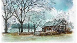 Winter landscape digital watercolor in Rebelle {video}