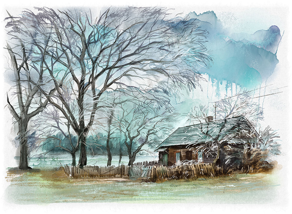 Winter landscape digital watercolor in Rebelle {video